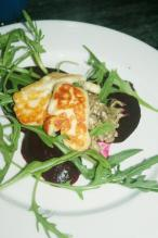 Roast Beetroot, Haloumi & Eggplant Stacl