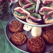 Custard Fruit Tarts and Orange & Almond Cakes.