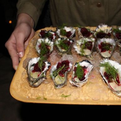 Oysters with Beetroot & Black Pepper Granita