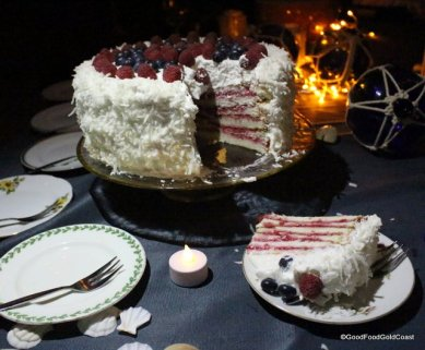 Raspberry & Coconut Angel Food Cake