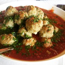 Spanish meatballs in mojo picon sauce