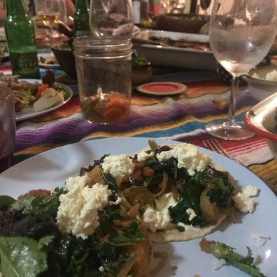 Acelgas con papas and queso fresco taco at Mexican Goldtoast Supper Club event