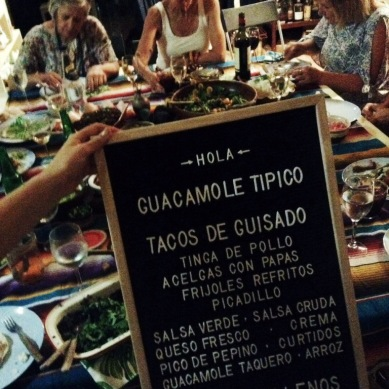 Mexican Sunday Supper menu, Gold Coast event