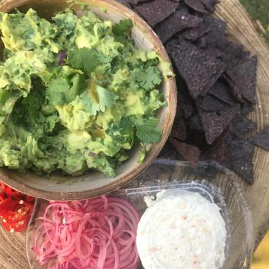 Cheese platter with Guacamole at Mexican Goldtoast Supper Club event